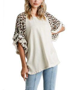 Umgee USA 3/4 Ruffle Leopard Sleeve Oatmeal