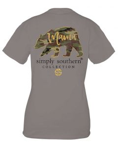 Simply Southern Women's Preppy Camo Mama T-Shirt Steel