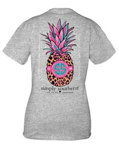 Simply Southern Women's Preppy Pineapple T-Shirt Heather Grey