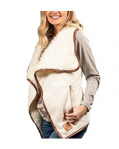 Simply Southern Women's Sherpa Vest Cream
