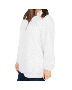 Simply Southern Women's Simply Fuzzy Pullover White