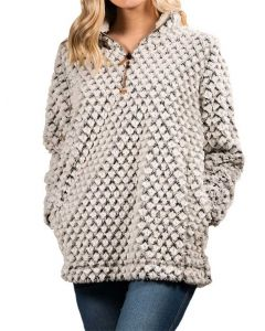 Simply Southern Women's Simply Fuzzy Pullover Heather Grey