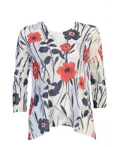 Jess & Jane Women's Red Poppy Tunic Denim Red