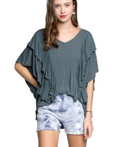 Pol Clothing Women's Ruffle V-neck Top Ocean Teal