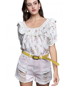 Pol Clothing Women's Floral Peasant Top Ivory Multi
