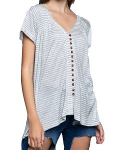 POL Clothing Women's Stripe Button Tunic Grey White