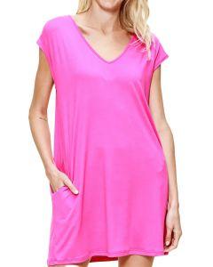 MittoShop Women's Vneck Dress Hot Pink