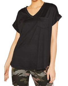 MittoShop Women's Vneck Pocket Top Black