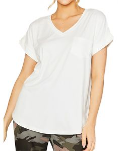MittoShop Women's Vneck Pocket Top Ivory