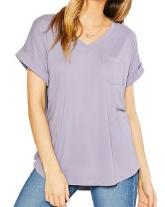 MittoShop Women's Vneck Pocket Top Lavender