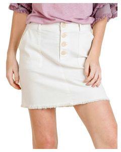 Umgee USA Women's High Waist Denim Skirt Off White