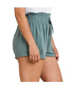 Umgee USA Women's Fray Linen Shorts Lagoon