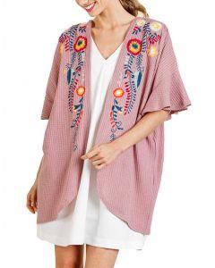 Umgee USA Women's Floral Kimono Light Mauve