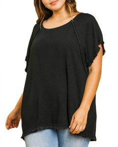 Umgee USA Women's Fray Linen Tunic Black