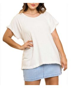 Umgee USA Women's Fray Linen Tunic Off White