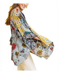 Umgee USA Women's Floral Kimono Sage Mix
