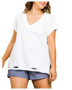 Umgee USA Women's Frayed T-Shirt Off White