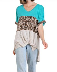 Umgee USA Women's Animal Tunic Turquoise Mix