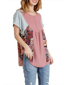 Umgee USA Women's Button Floral Tunic Blush