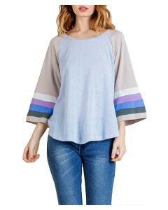 Umgee USA Women's Stripe Raglan T-Shirt Light Blue