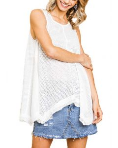 Umgee USA Women's Sleeveless Waffle Tunic Off White