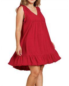 Umgee USA Women's Sleeveless Frayed Dress Jester Red