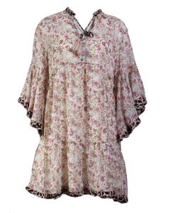 Umgee USA Women's Ruffle Floral Dress Cream Mix
