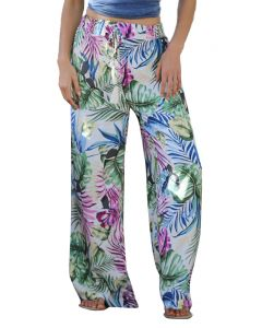 Angie Women's Wide Leg Floral Pants Ivory