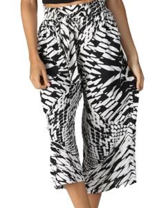 Angie Women's Crop Tie Waist Pants Black White