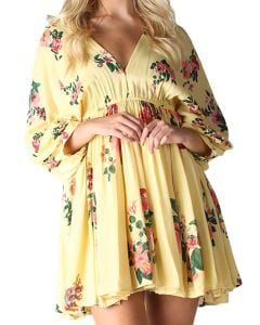 Angie Women's Floral Vneck Dress Yellow