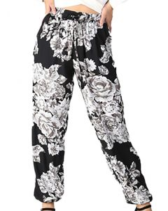 Angie Women's Floral Jogger Pants Black Grey