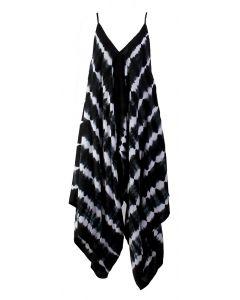 Angie Women's Tie Dye Jumpsuit Black White
