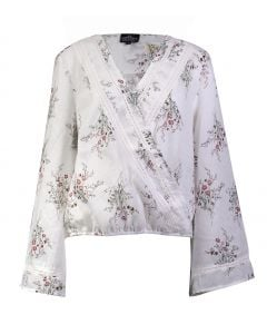 Angie Women's Floral Long Sleeve Top Ivory