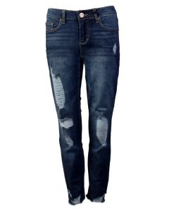 One 5 One Women's Destruct Hem Ankle Denim