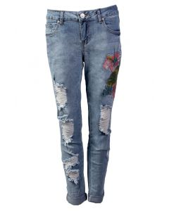 One 5 One Women's Flower Crop Jean Classic