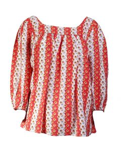Easel Women's Peasant Floral Top Hot Coral