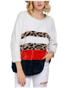 Davi & Dani Women's Leopard Sweater White