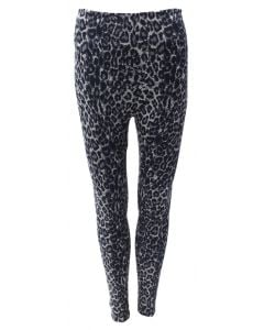 Blue Planet International Women's Leopard Fleece Leggings Black