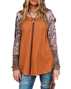 Ces Femme Women's Tie Dye Print Color Block Top Camel