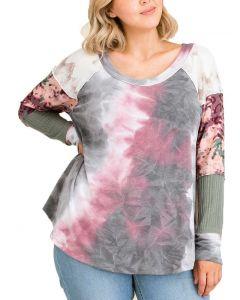 Ces Femme Women's Tie Dye Print Color Block Plus Top Grey Multi