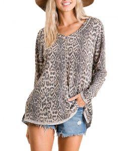 Ces Femme Women's Animal Print Tunic Taupe Leopard