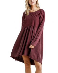 Umgee USA Women's Mineral Wash Dress Burgundy