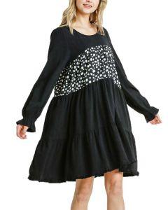 Umgee USA Women's Ruffle Tiered Dress Black