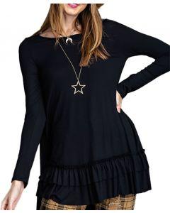 Easel Women's Long Sleeve Ruffle Tunic Black