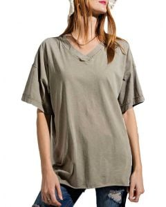 Easel Women's Real Love Boxy Top Faded Sage