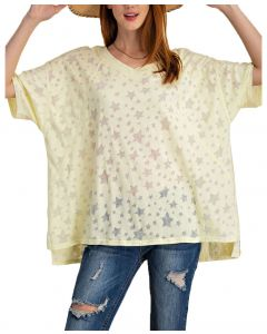 Easel Women's Stars Burnout T-Shirt Lemon
