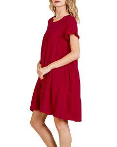 Umgee USA Women's Ruffle Dress Red