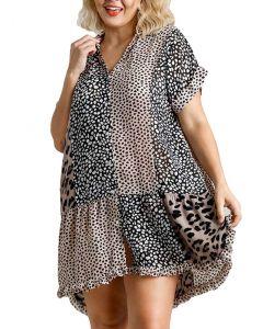 Umgee USA Women's Leopard Patchwork Shirt Dress Mocha Black
