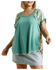 Umgee USA Women's Printed Top Plus Emerald