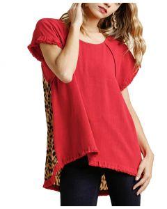 Umgee USA Women's Ruffle Animal Top Plus Red
